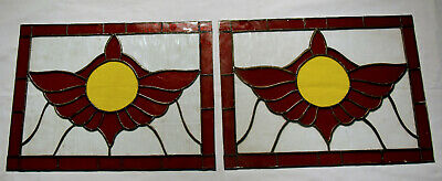 "Pair of Antique Stained Glass Door Windows 9""X12"" unframed / reclaimed"