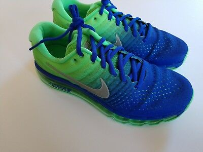 best service 06d55 cd3ff NIKE AIR MAX 2017 (GS) Youth Blue Green Running Shoes 6.5Y Women's 8  851622-400