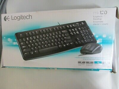 New Logitech MK120 Keyboard & Mouse - 1000 dpi - Scroll Wheel - wired