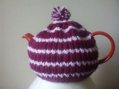 Hand knitted tea cosy (small, fits two cup teapot) plum/pink stripe