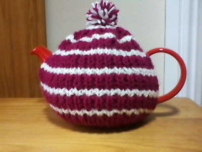 Hand knitted tea cosy (small, fits two cup teapot) plum/cream stripe