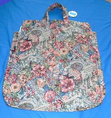 """a. SHOULDER PILLOW BAG FOR 20"""" PILL.2 ZIP SIDE GUSSETS FLORAL QUALITY MATERIALS"""