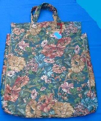 """b SHOULDER PILLOW BAG FOR 20"""" PILL. 2 ZIP SIDE GUSSETS FLORAL QUALITY MATERIALS"""