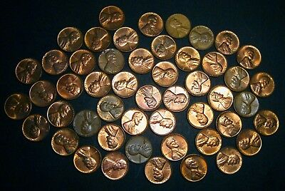 """1960-D Lincoln Memorial Cents Pennies, """"Roll"""" of 50 Loose"""