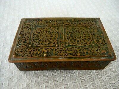Antique Erhard & Sohne Art Nouveau Footed Brass Tobacco Box, Germany signed NICE