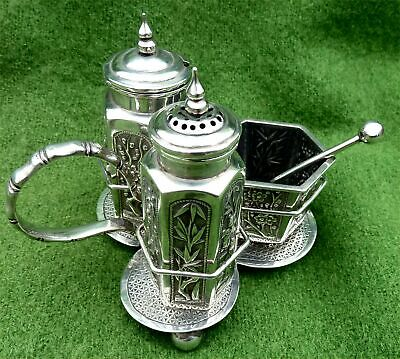 CHINESE EXPORT SILVER CRUET SET & STAND BY WANG HING c1900 - 5.58oz