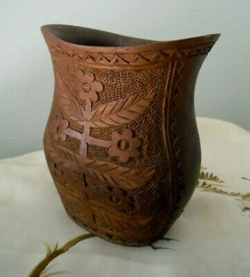 "Antique Vintage Hand-carved Wooden Vase, Floral Decoration, 4 ¼"" high – VGC"