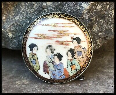 Antique Vintage Silver Japanese Geisha Satsuma Porcelain Brooch Pin