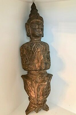 "Fine 18""+ Antique Architectural Element Carved Wood Buddhist Thepenom ~Thailand"