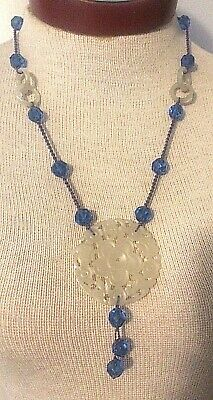 Antique Chinese Carved White Jade Pendant & Blue Glass Necklace