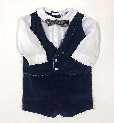VTG Baby Boy Toddler Suit Easter Outfit Blue Velvet Bow Tie 12 Month USA Made