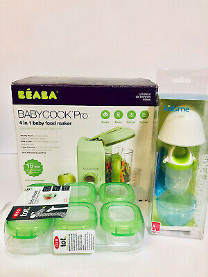 NEW BEABA Babycook Pro 4 in 1 Baby Food Maker, Oxo Freezer Blocks, Kidsme Feeder