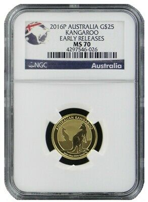 2016-P Australia 1/4 oz Gold Kangaroo $25 NGC MS70 Early Releases