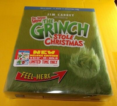 Dr.Seuss How The Grinch Stole Christmas(Blu-ray/DVD+HD)Collector Fur Cover-NEW
