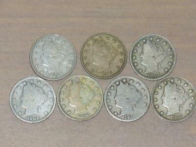 (7) Liberty Head Nickels (1901-1912) Circulated