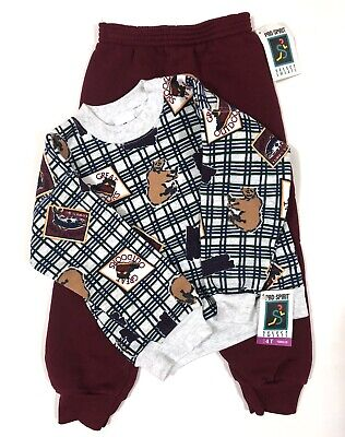 VTG Toddler Boy's Outfit Set Outdoors Hunting Fishing Bears 4T USA Made NEW NOS