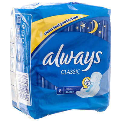 New 354282  Always Classic Maxi Pad W / Wings Night 8 Ct (16-Pack) Feminine