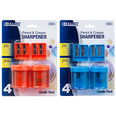 New 363259  Pencil Sharpener 2Pc Dble Blade W / 2Pc Rd Receptacle #Bazic