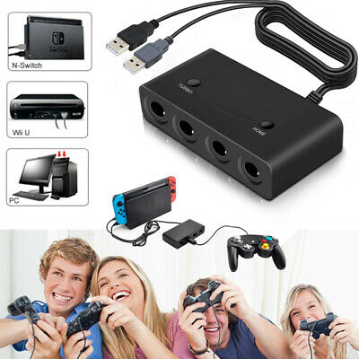 4 Port USB NEW TURBO GameCube Controller Adapter For Nintendo Switch Wii U & PC