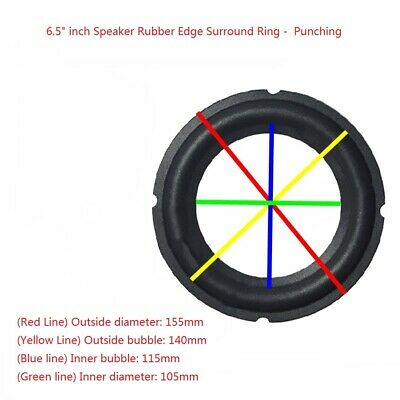 """2x 6.5"""" Inch Rubber Edge Kit Piercing Edge for Subwoofer Diaphragm Surround Ring"""