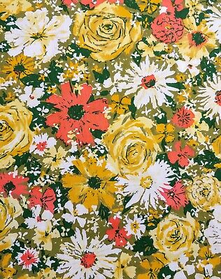 Vintage Floral Tablecloth 70's green orange yellow roses rectangle 80x58.5
