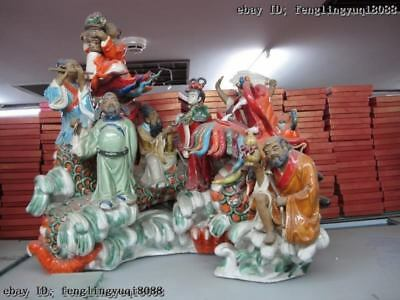 18 Pottery WuCai porcelain the Eight Immortals God Buddha Sit on Dragon Statue