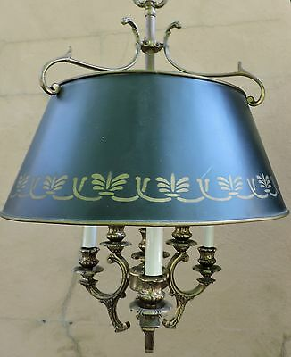 Vintage French Black Tole Bouillette Chandelier Brass Pendant Ceiling 6 Lights