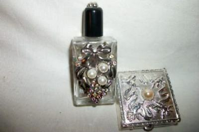 Vintage Silver Filigree Jeweled Purse Perfume Bottle Cherub Pill Box Mid Century