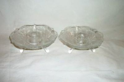 Vintage Footed Clear Glass Ruffle Flower Shape Candle Holders Vines Mid Century