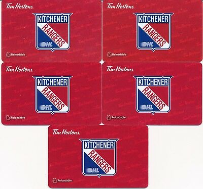2016 Tim Hortons Gift Cards Timcards x5 OHL Kitchener Rangers FD53352 No Balance