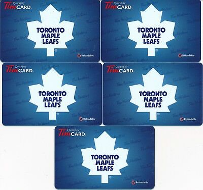2012 Tim Hortons Gift Cards Timcards x5 Toronto Maple Leafs FD26602 No Balance