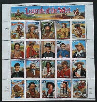 U.S. Used #2869 29c Legends of the West Sheet of 20. Unobtrusive Cancel. Scarce!