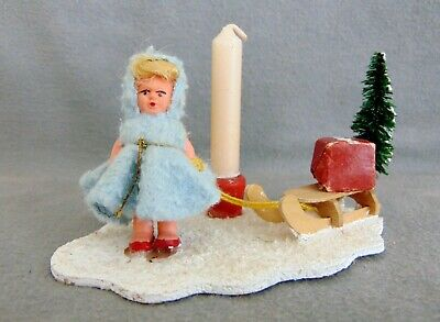 Vintage German Erzgebirge Christmas Display Ornament Candle Holder 1950s-1960s