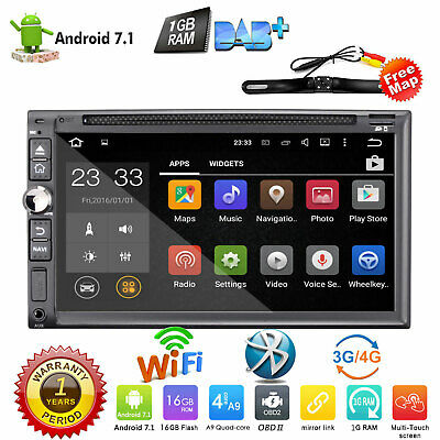 "In Dash 7"" Double 2Din Android 7.1 Car Radio Stereo GPS Sat Nav WiFi DVD Player"