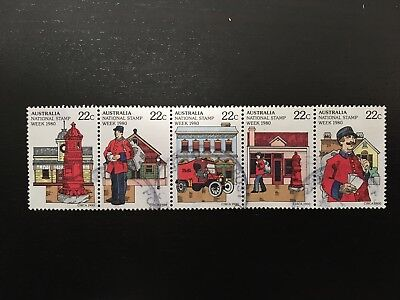 1980 Australia National Stamp Week Setenant Strip 5 X 22C - Fine Used