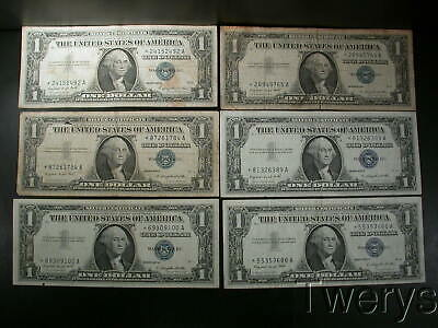 6 Piece Lot 1957A Silver Certificate Notes Dollars $1 Star Notes Circulated