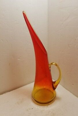 "Vintage Large  Kanawha Amberina Crackle Glass Pitcher Mid Century 14"" Tall Minty"