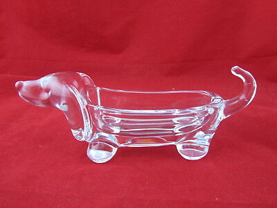 Art Vannes Crystal Dachshund Pin Dish Made in France