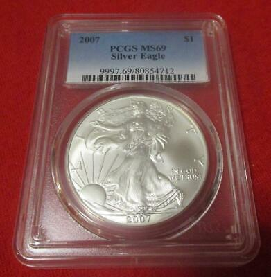 2007 PCGS MS 69 Silver Eagle. ASE. Blast White                           MF-215