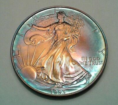 1993 1oz silver american eagle dollar with beautiful toning, TONED