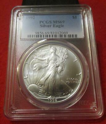 1992 PCGS MS 69 Silver Eagle. ASE. Blast White                            MF-238