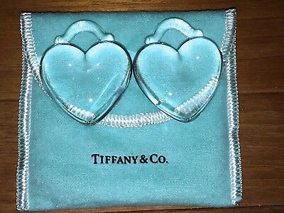 2 Tiffany & Co. Crystal Christmas  HEART Ornaments w/Pouch New Sale Price