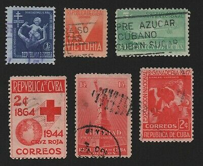 Caribbean Islands Stamps 6Cuba, Unchecked Lot, With Air Mail, F/vf Free Usa Ship