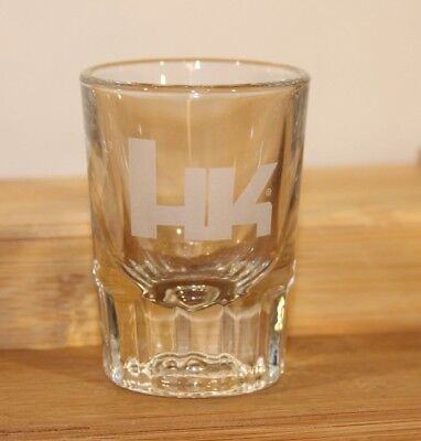 Genuine HK Heckler & Koch Collectors Etched HK Logo 2 oz Shot Glass Heavy Base