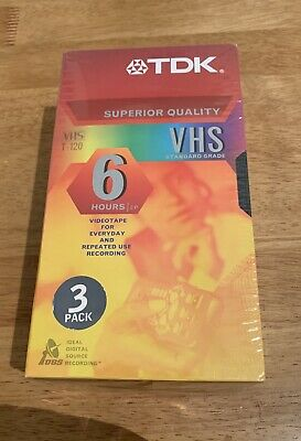 3 pack TDK Superior Quality VHS T-120 Standard Grade 6 Hours EP Brand New Sealed