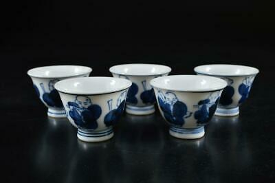 S817: Japanese Arita-ware Blue&White Person pattern TEA CUP Senchawan 5pcs