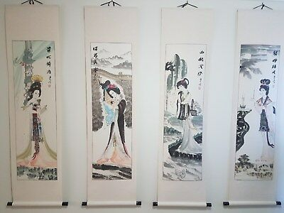 Hand Painted Chinese Ladies Wall Scrolls