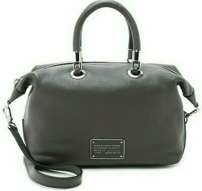 Marc Jacobs Too Hot To Handle Italian Leather Grey Top Zip Satchel Bag Purse*Nwt
