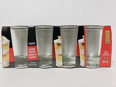 4 Piece Set Small 1.5 ounce Shot Glasses Dessert Glass Cooking Concepts New