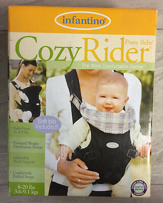 29ed80693f0 New Infantino Cozy Rider Baby Carrier with Soft Bib 8-20 lbs Black   Plaid